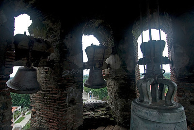 Three bells from inside the Vigan Cathedral Bell tower - Vigan, Philippines