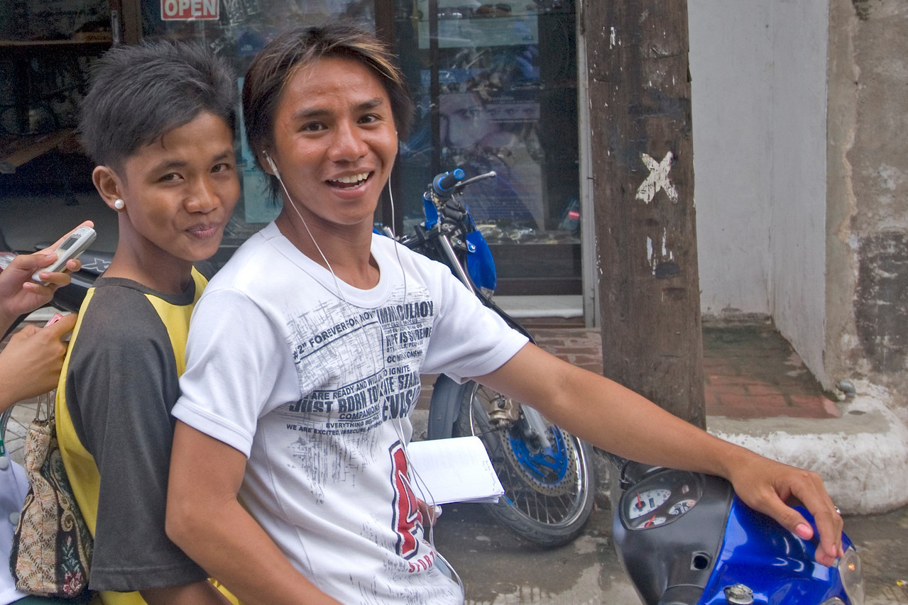 Filipino Kids on Motorbike at Vigan, Philippines