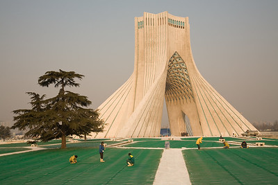 Tehran, Iran - February, 2008: The massive  Azadi momument dominates the square of the same name, one of the largest in the world. (Photo by Christopher Herwig)