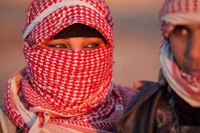 Palmyra, Syria - January, 2008: Women in a Bedouin camp in the desert near Palmyra. Photo by Christopher Herwig)