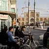 Yazd, Iran - February, 2008: Busy traffic through Behesti Square at the heart of the ancient and vibrant desert city of Yazd. (Photo by Christopher Herwig)