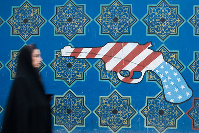 Tehran, Iran - February, 2008: Anti american murals outside the former American embassy in Tehran, now known as the US Den of Espionage.  (Photo by Christopher Herwig)