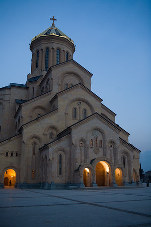 Tbilisi, Georgia - January, 2008: The newly built Tsminda Sameba which dominates the local skyline in Tbilisi is the largest Cathedral in the Caucacus. (Photo by Christopher Herwig)