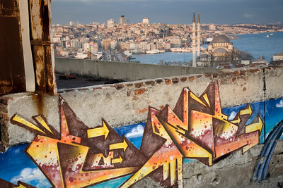 Istanbul, Turkey - January, 2008: Modern graffiti on a roughtop near the Grand Bazaar overlooking Istanbul, Turkey. (photo by: Christopher Herwig)