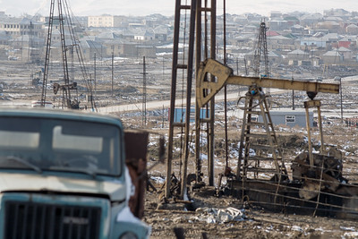 Baku, Azerbaijan - February 2008:  Since 1872, the area in and around Baku has been dominated by the oil industry, as evident by the countless oil pumps and drilling rigs that crowd the landscape.  (Photo by Christopher Herwig)