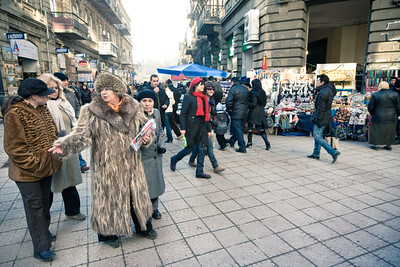 Baku, Azerbaijan - February 2008: Woman in fur coat shopping in the busy shopping street in the oil rich city of  Baku, Azerbaijan. (Photo by Christopher Herwig)