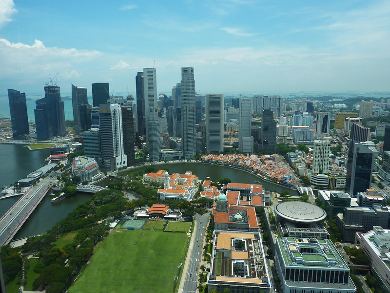 Singapore's Central Business District (CBD) and Boat Quay along the Singapore River.