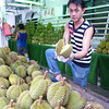 The famous -or infamous- durian is sold at many stalls similar to this in the Geylang neighborhood of Singapore.
