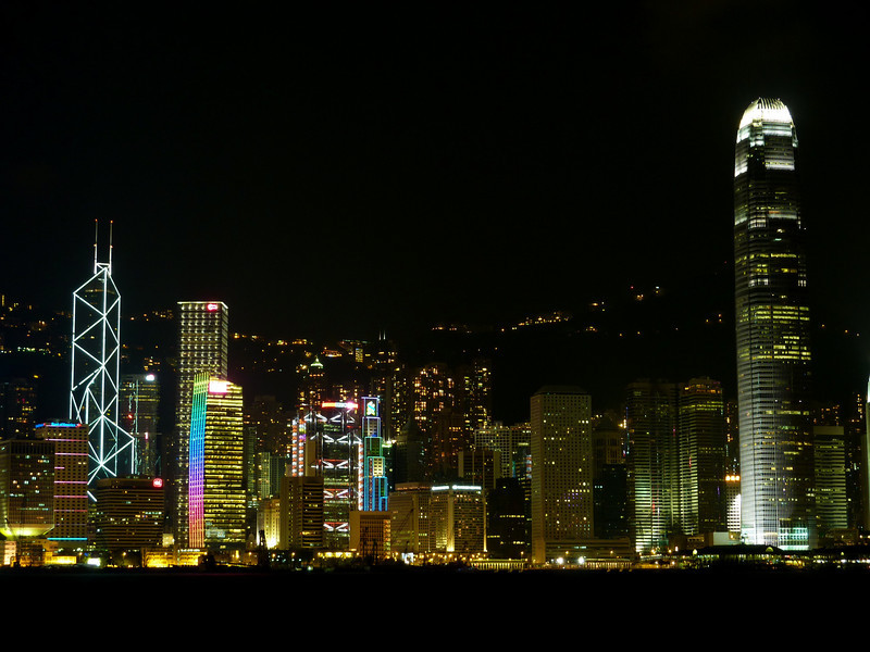 The evening skyline of Hong Kong Island, iconic of the small island's financial status in Asia.