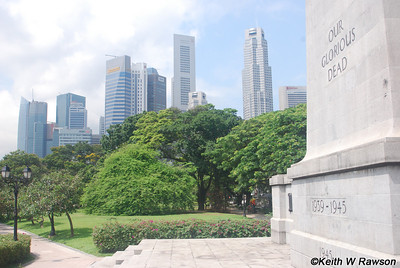 The Singapore Cenotaph is close to the entrance to the Singapore River in the park area before the old Singpaore Club. It commemorates both World War 1 and World War 2 but only contains the names of those who died during World War 1. The two World Wars are on opposite sides of the memorial and each year of the war is carved into an individual step of the memorial.