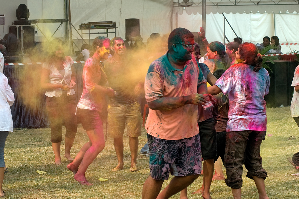 Fun during the Indian Holi Festival in Singapore