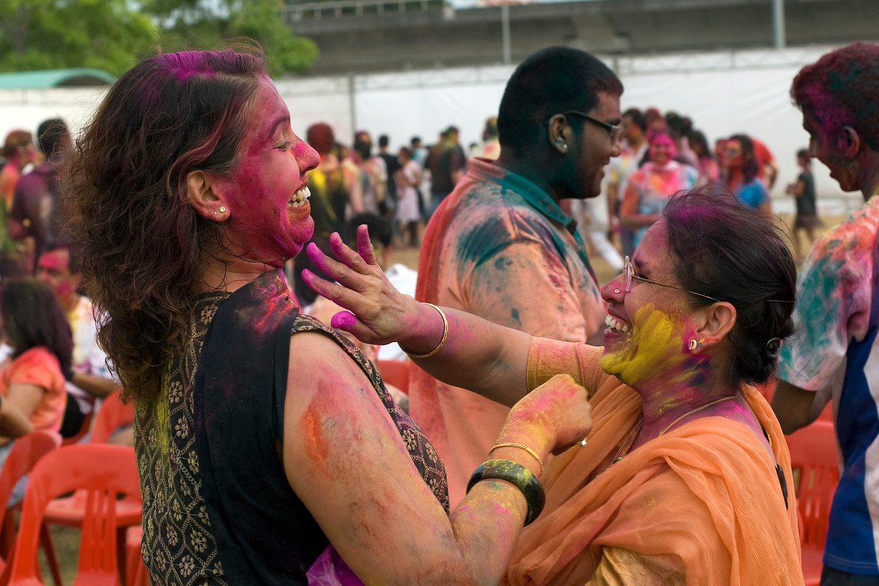Female participants at Festival of Colors in Little India, Singapore