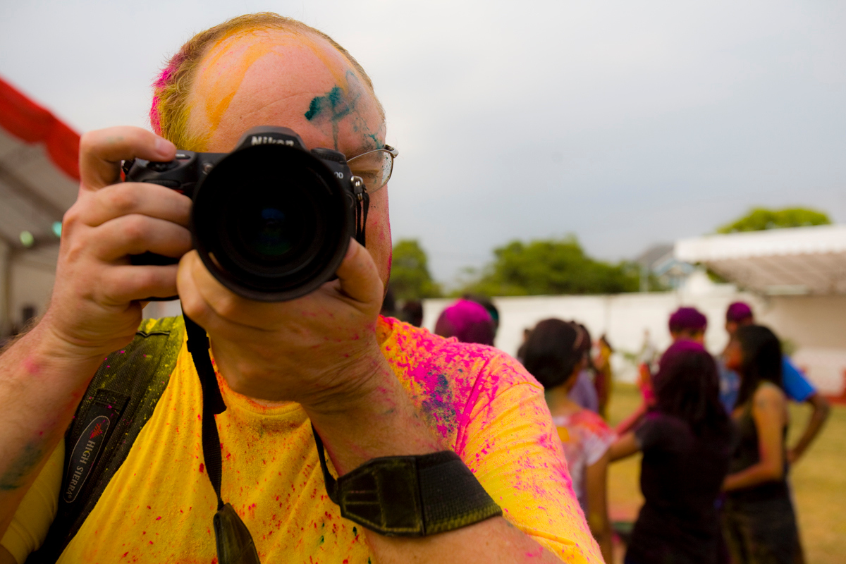 Camera shot during the Rang de Holi Festival in Singapore
