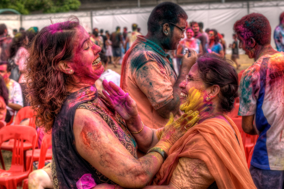 Indian Woman Putting Dye on Each Other During the Holi Festival, Singapore