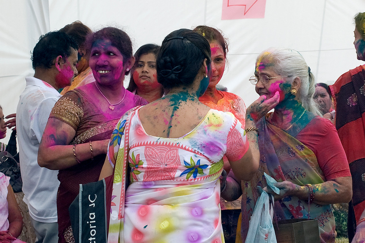 Women participating at the Festival of Colors at Little India, Singapore