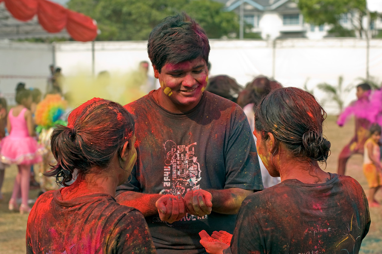 Participants gamely splashed with colors at Singapore Holi Festival
