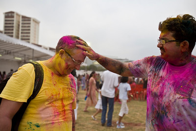 Participating in the Rang De Holi event in Singapore