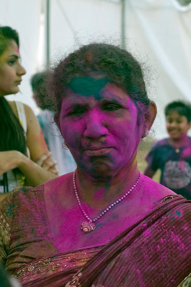 Purple woman at the Singapore Holi Festival