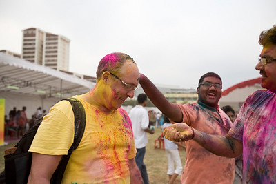 Having fun with locals during Holi Festival in Singapore