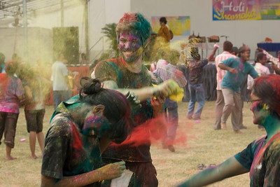 Tourists having fun at Festival of Colors in Singapore