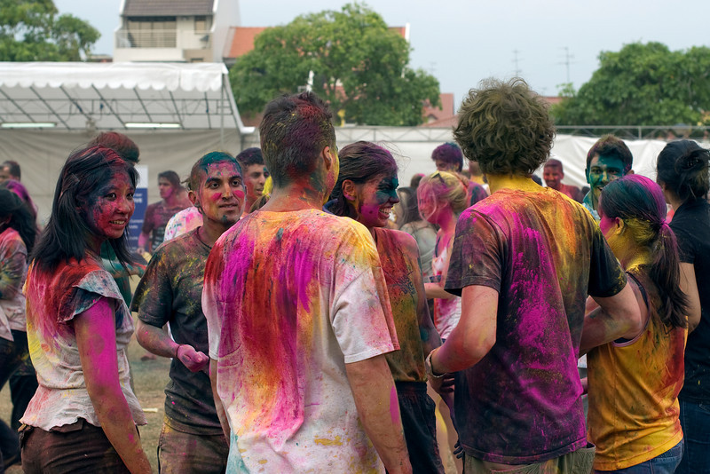 Group of young folks at Singapore Holi Festival