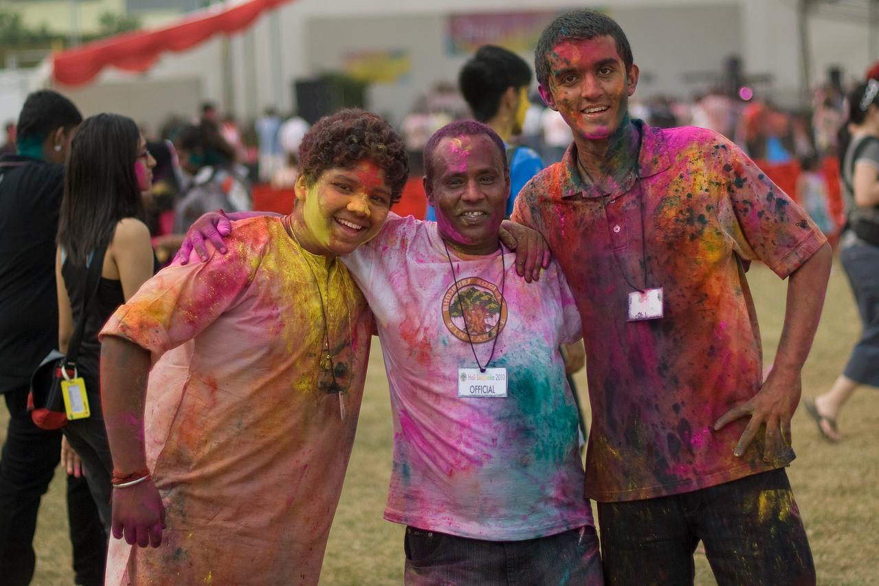 Boys enjoying the festivities at Singapore Holi Festival