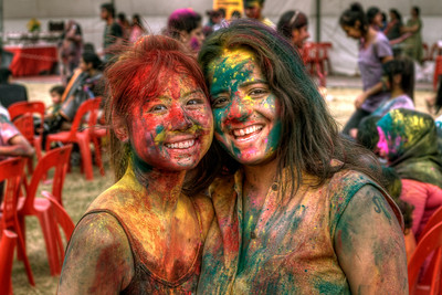 Girls at Indian Holi Festival Celebration in Singapore