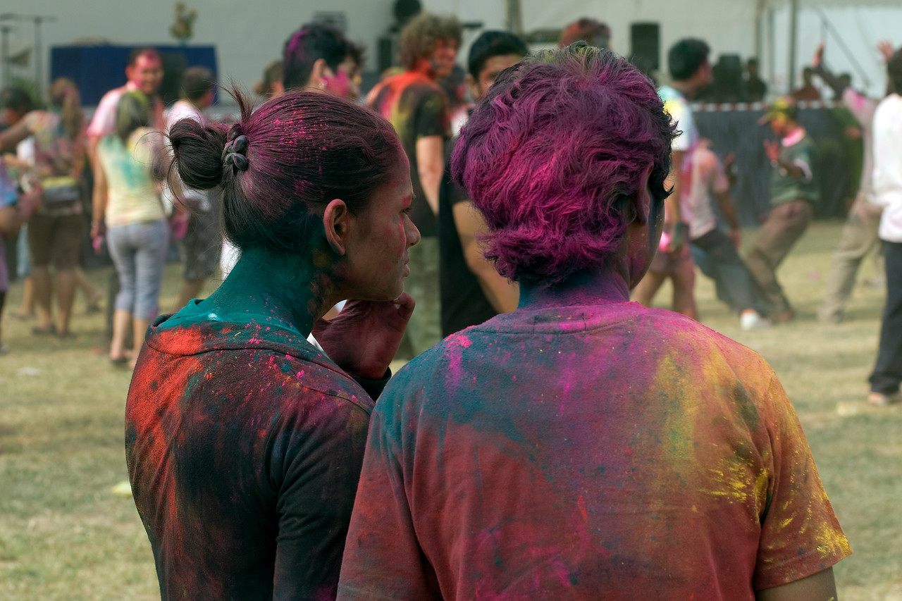 Two women with new hair colors at Singapore Holi Festival