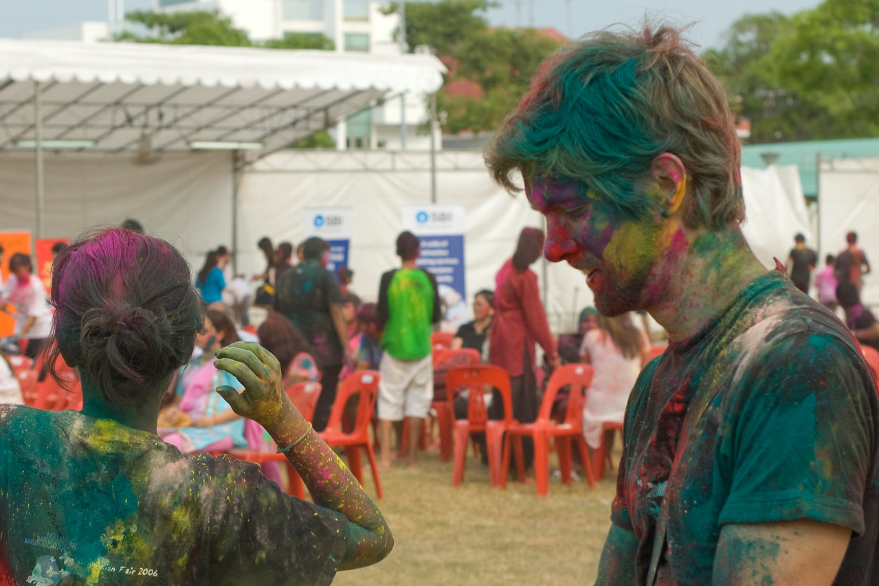 Profile of tourist joining in Festival of Colors in Singapore