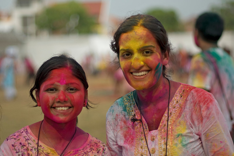 Participants smiling to the camera at Singapore Holi Festival