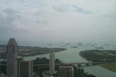 Wide shot of the Singapore Harbor and surrounding skyscrapers - Singapore