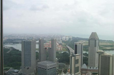 Overlooking view of Singapore skyline from the Westin Hotel Tea Room