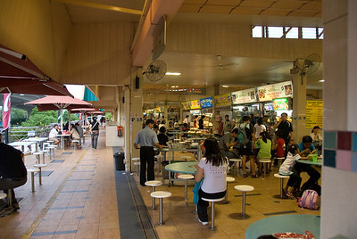 Busy tables at a Hawker Stand in Singapore