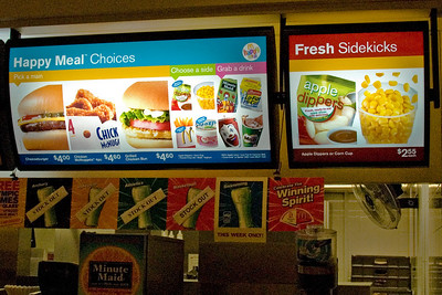 Meal signs inside McDonald's store in Singapore