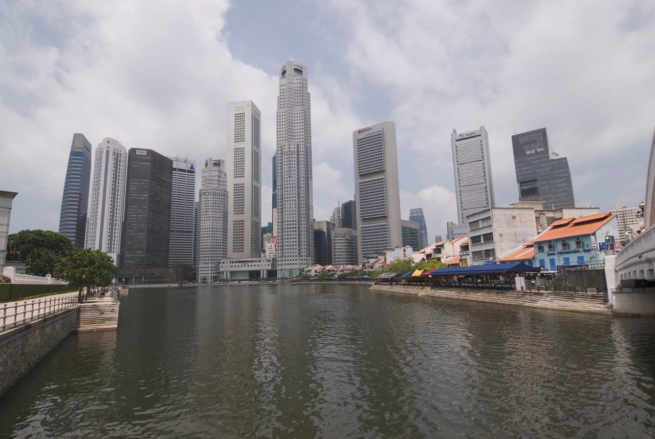 Wide shot of Riverfront and Downtown Singapore