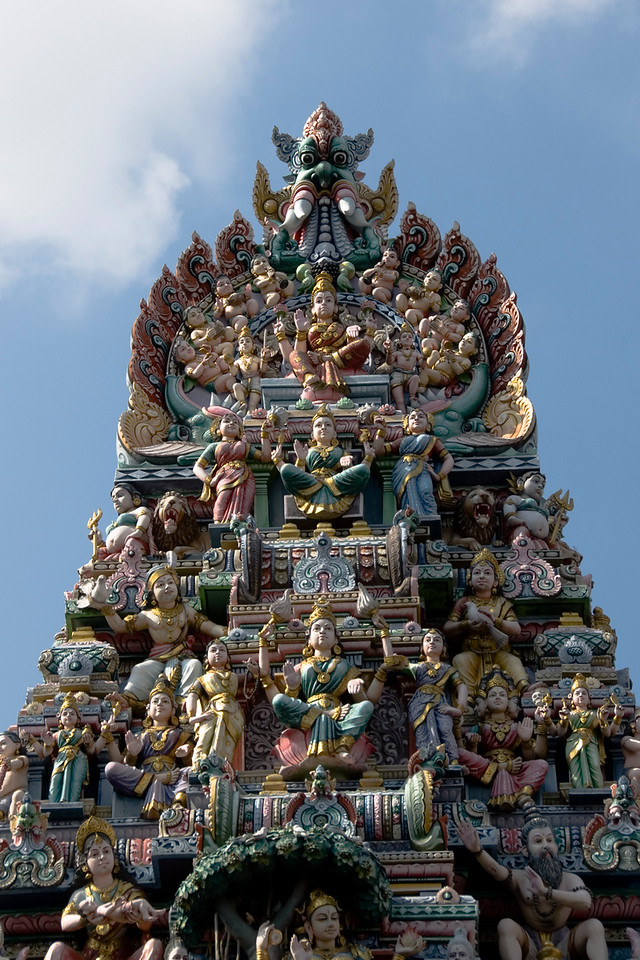 Multiple statuettes at pagoda in Sri Veeramakaliamman Temple - Singapore