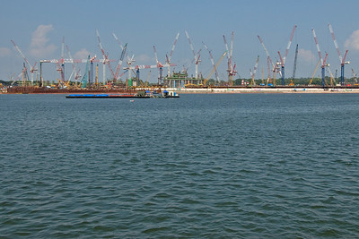 Cranes on Waterfront at Singapore