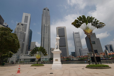 Stamford Raffles Statue and Buildings at Downtown Singapore