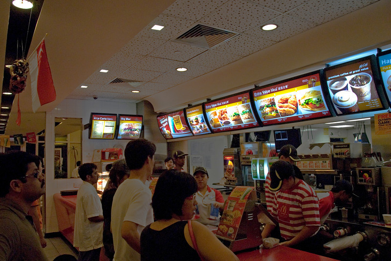 Busy McDonald's counter in Singapore