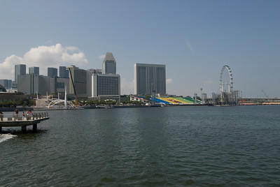 Wide view of the Espalanade and city skyline in Singapore