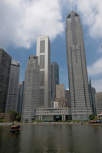 Towering buildings near River in Singapore