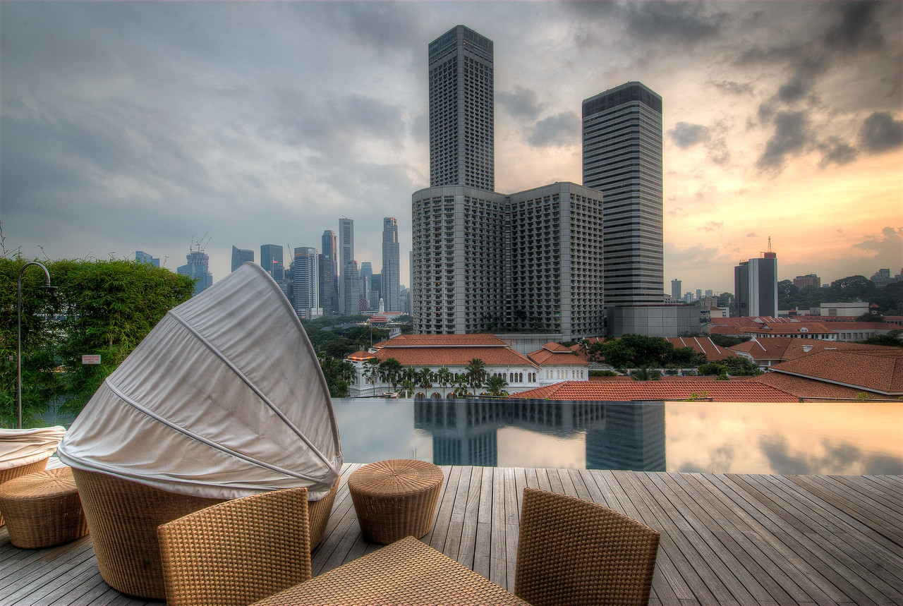 Infinity Pool at SkyPark and skyline at day - Singapore