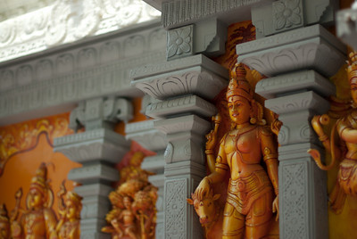 More small Hindu statues on display at pagoda - Singapore