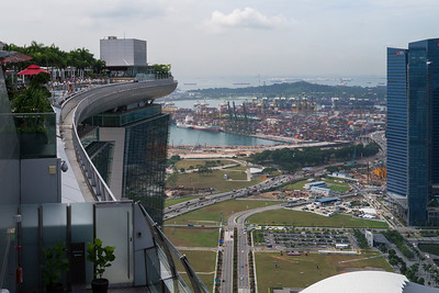The famous swimming pool of the Marina Bay Sands with the dock in the background