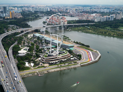 The Singapore Flyer and the last corner of the Grand Prix track