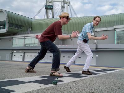 Dan, Jonty and Dyno racing