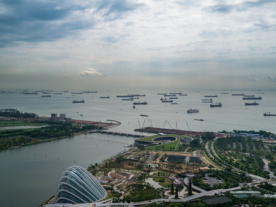 Looking at all the ships moored outside Singapore