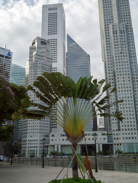 At Raffles landing site with Skyscrapers in the background