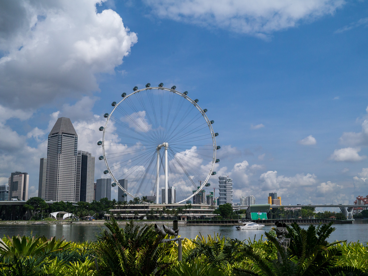 Looking across the river at the Singapore Flyer