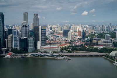 Looking across Singapore from the Marina Bay Sands